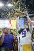 LSU head coach Ed Orgeron and LSU quarterback Joe Burrow (9) hold up the championship trophy after the CFP National Championship Game against Clemson at the Mercedes-Benz Superdome in New Orleans, Monday, Jan. 13, 2020. LSU won 42-25.
