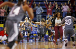 The Troy bench explodes in celebration after beating Arkansas Little Rock during an NCAA college basketball game in the championship of the Sun Belt Conference women's tournament in New Orleans, Saturday, March 12, 2016. Troy won 61-60 after guard Ashley Beverly Kelley scored with 20.2 seconds on the clock. (AP Photo/Max Becherer)