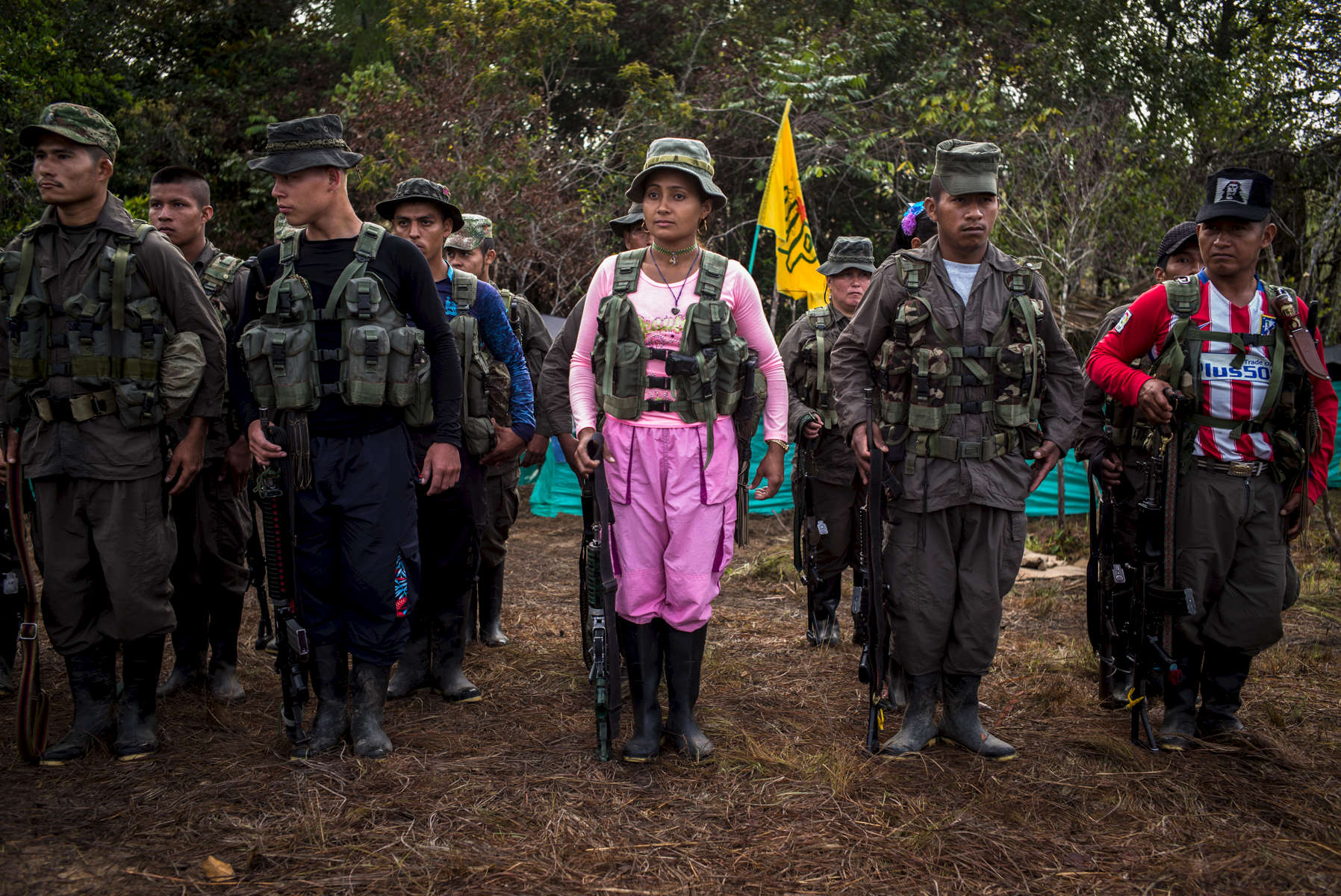 September 18, 2016. Members of the Bloque Sur of FARC take formatting early in the morning to receive the orders and tasks of the day. Rebels have routine schedules that they follow everyday despite they are currently awaiting demobilization. Caqueta, Colombia.