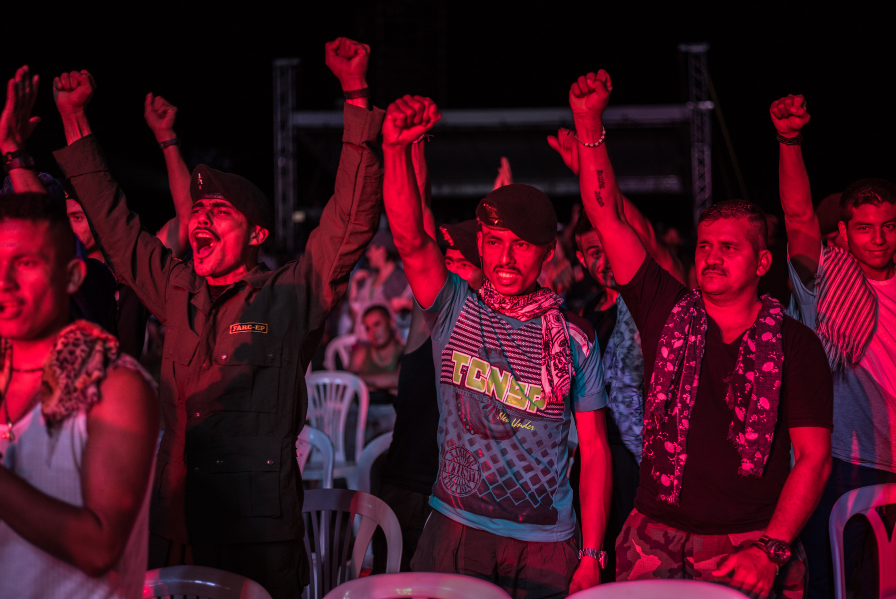 September 19, 2016. Members of El Bloque Sur of FARC celebrate the ratification of the peace agreement between FARC and the Colombian Government. Conferences have been clandestine and internal decisions of the organization. At the X Conference the peace agreement was ratified by FARC members. Caqueta, Colombia.