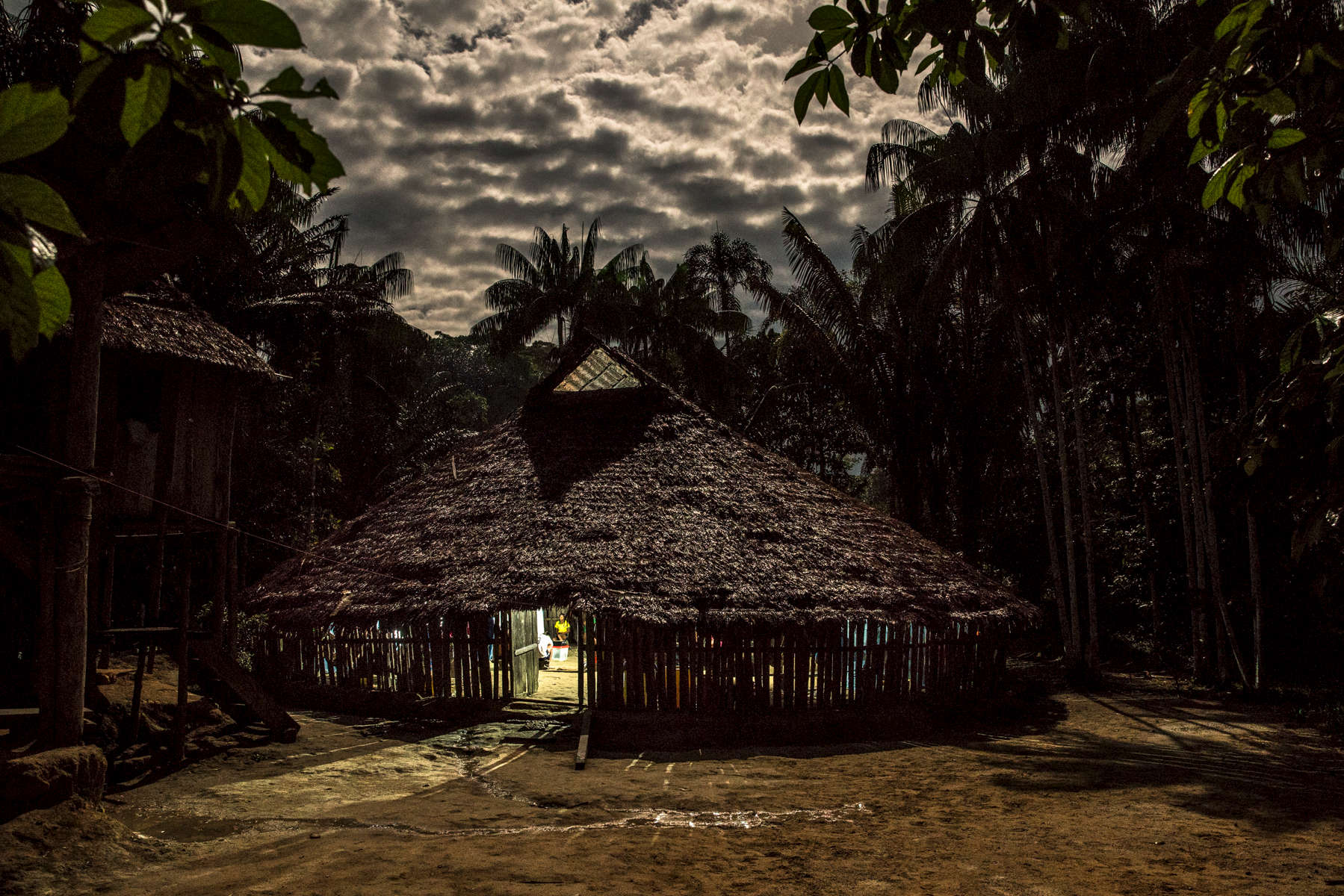 December 3, 2017. Borikada, Resguardo Curare Los Ingleses, Amazon. A view of the Maloka of the indigenous community of Barikada where members of the communities of the Resguardo Curare Los Ingleses gather to discuss matters of their community. Photo Credit: Juan Arredondo for Scientific American.