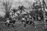 September 16, 2017. Vegaez, Antioquia, Colombia. Members of the FARC soccer team of the Transitional zone of Vigia del Fuerte on the right prepare to play a match against the 94th infantry Battalion of the Colombian Armed forces who provide security for the former FARC members as they transition into civilian life.