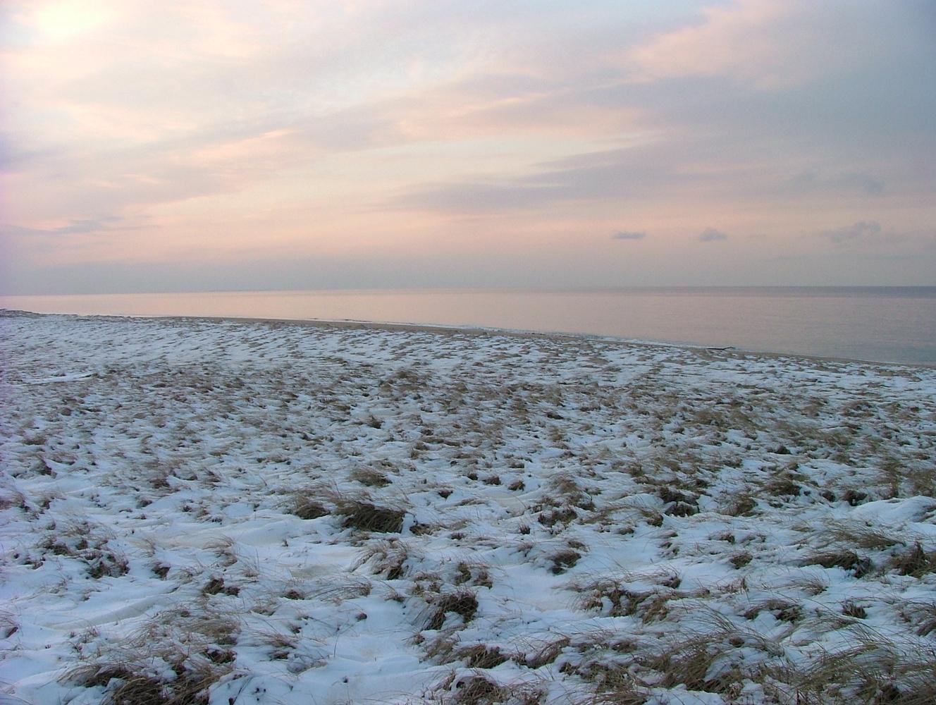 Snow coats the Race Point dunes.