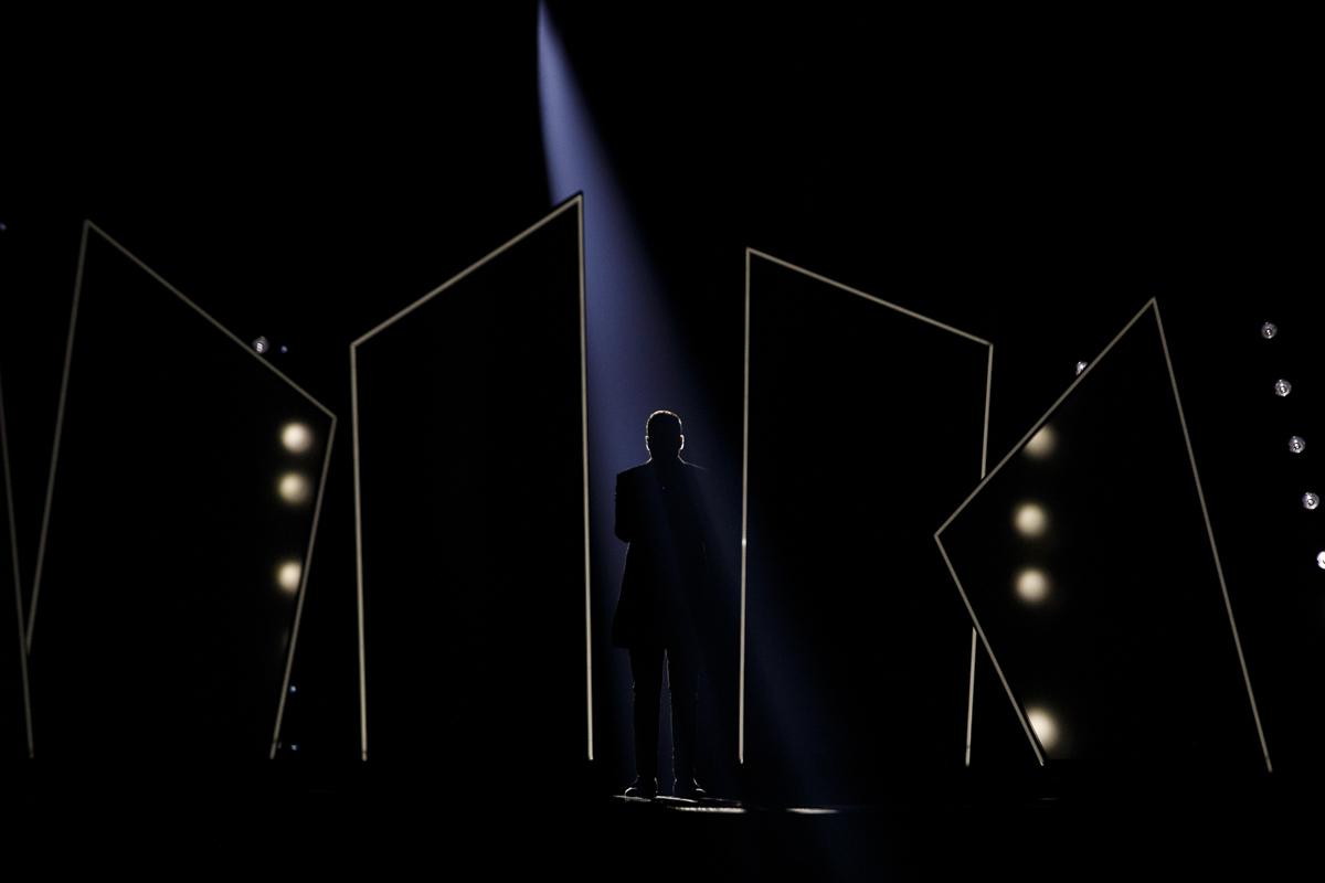 Israeli singer Kobi Merimi in the Eurovision Semi final 1 Dress rehearsal  in Tel Aviv on May 13th, 2019