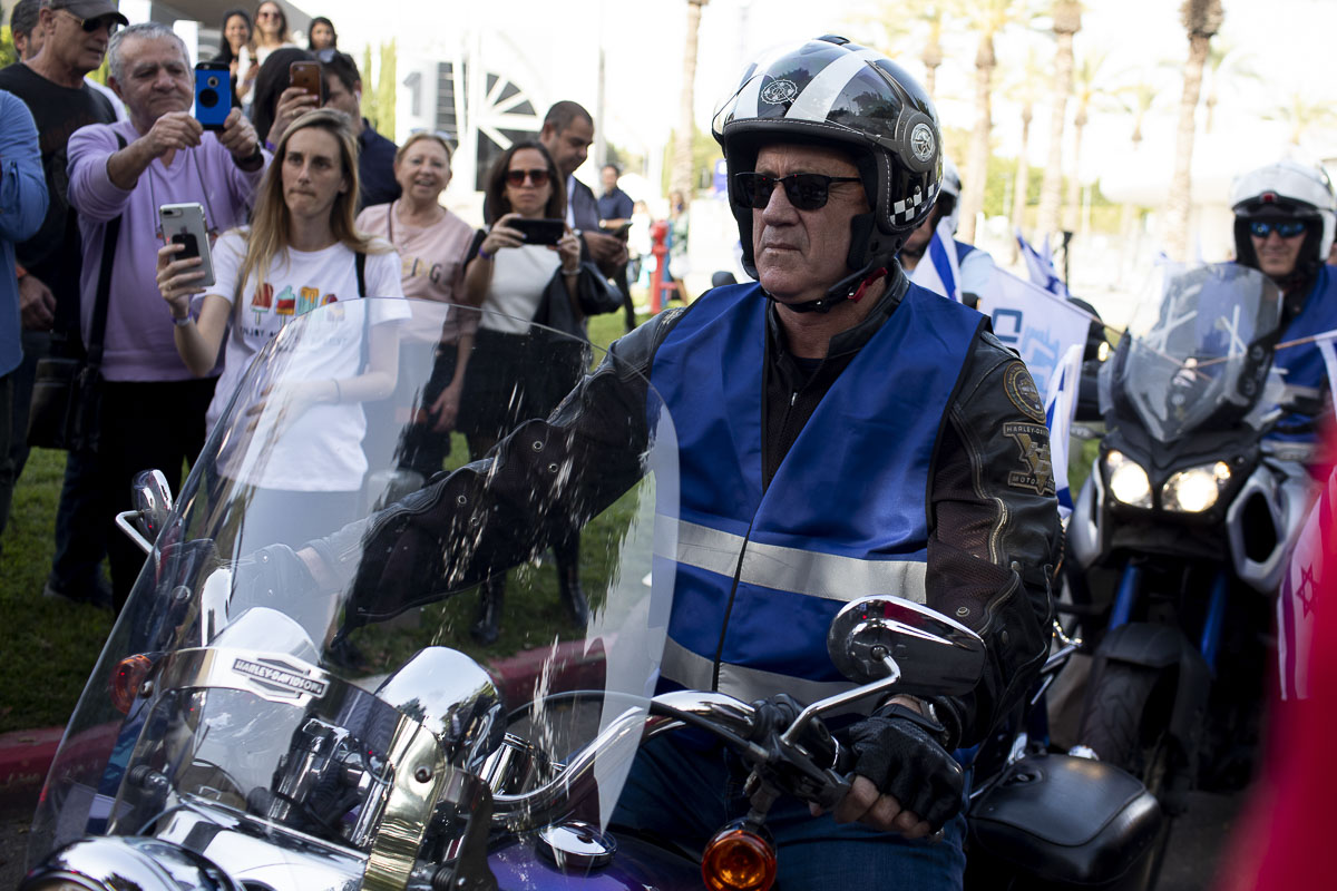 A caravan of 100 motorcycles led by Blue and White's candidate for Prime Minister, Benny Gantz, in Tel Aviv Expo Center, as part of Blue and White's field campaign - {quote}Every Voice Counts{quote}.