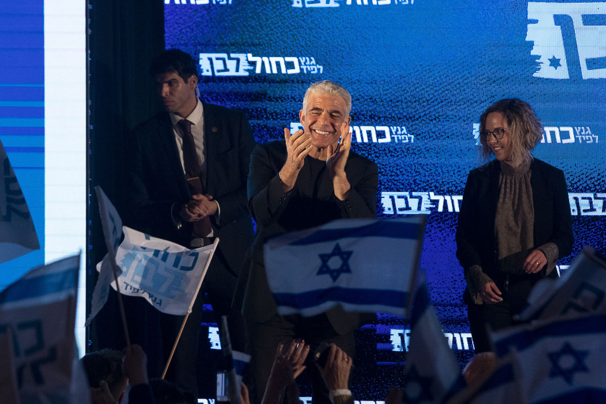 Blue and White hold a final rally with supporters and the leadership of Blue and White including candidate for Prime Minister Benny Gantz and party leaders Yair Lapid, Moshe 'Bogie' Yaalon and Gabi Ashkenazi on April 7th, 2019 Tel Aviv, Israel photos by Kobi Wolf