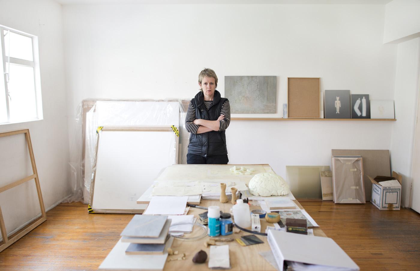 Artist Melanie Smith in her studio in San Pedro los Pinos, Mexico City.