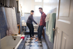 Photographers Benedict Desrus and Trevor Snapp in their bathroom in the Edificios Condesa, Condesa, Mexico City.