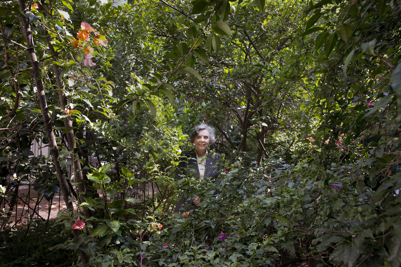 Famed author Elena Poniatowska in her garden in Chimalistac, Mexico City.