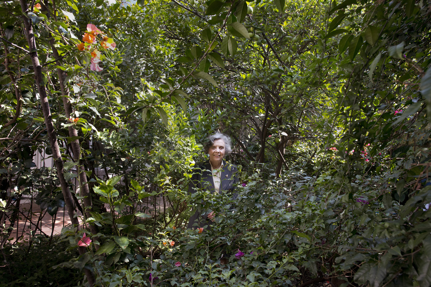Author Elena Poniatowska in her garden in Chimalistac, Mexico City.