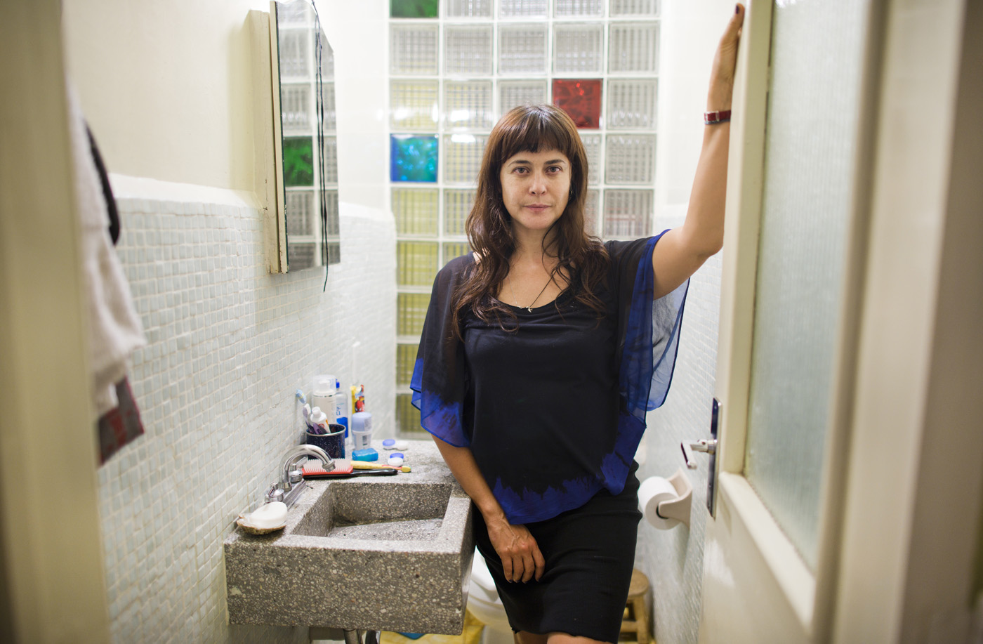 Annuska Angulo in the bathroom of Progreso and Prosperidad, Escandon, Mexico DF