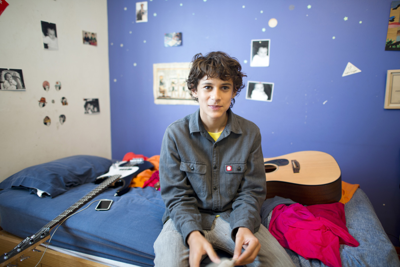 Actor and musician Americo Hollander in his room in the Condesa, Mexico City