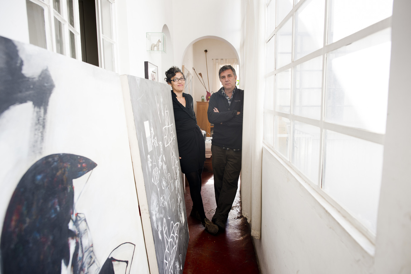 Author and editor Miriam Mabel Martinez and artist Ivan Gonzalez de Leon at their home in the Condesa, Mexico City.