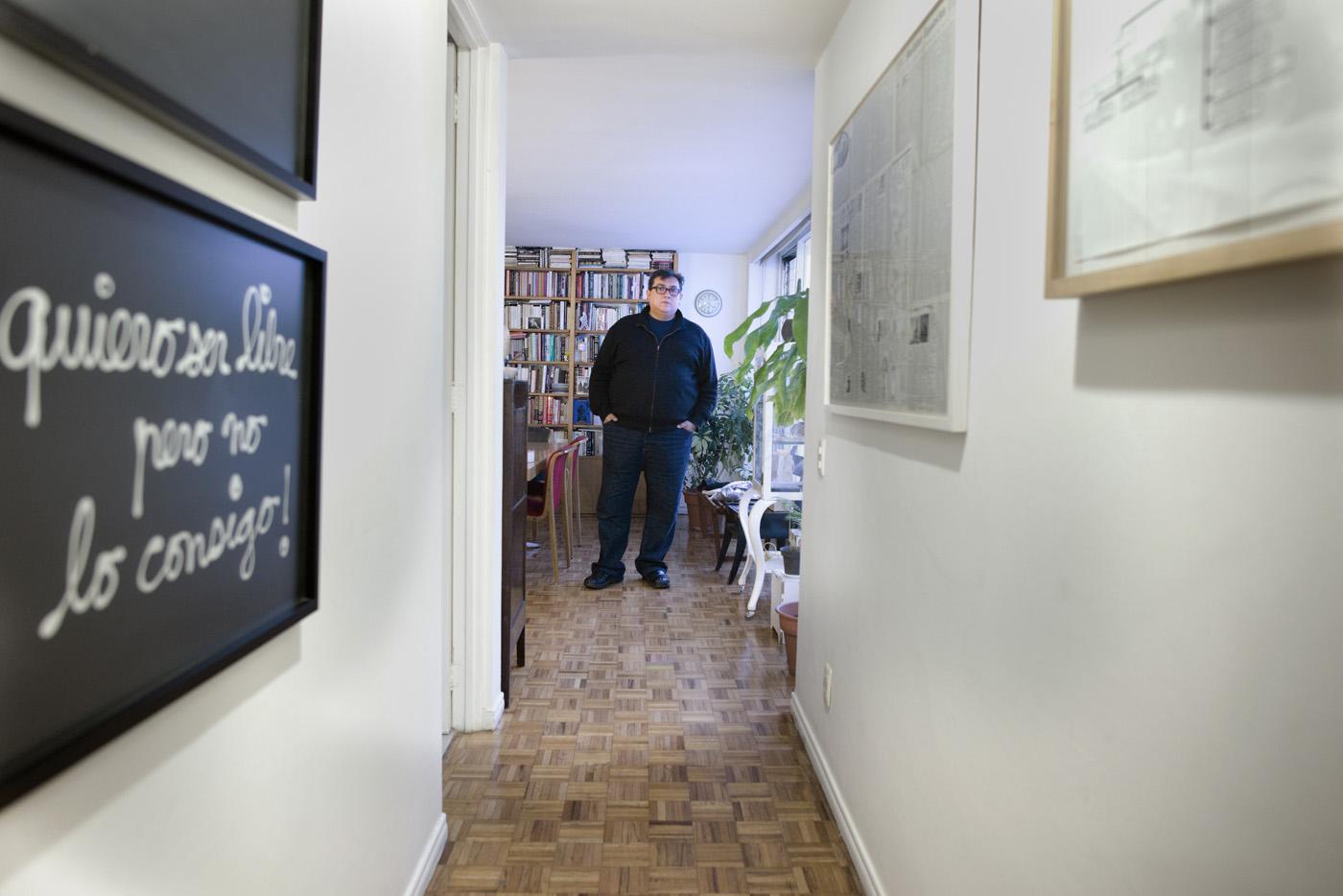 Cuauhtemoc Medina, art critic and curator, in his apartment in La Del Valle, Mexico City