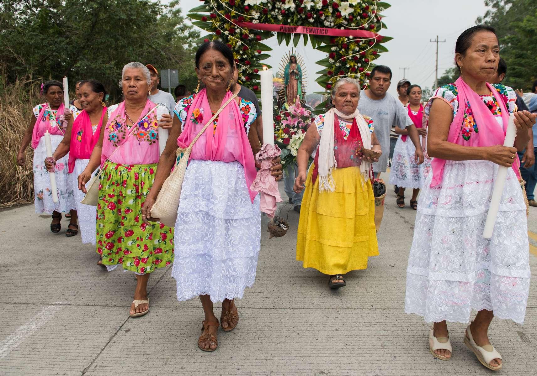 Totonac religious procession in honor of the Virgen de Guadalupe. El Tajin, Veracruz, Mexico