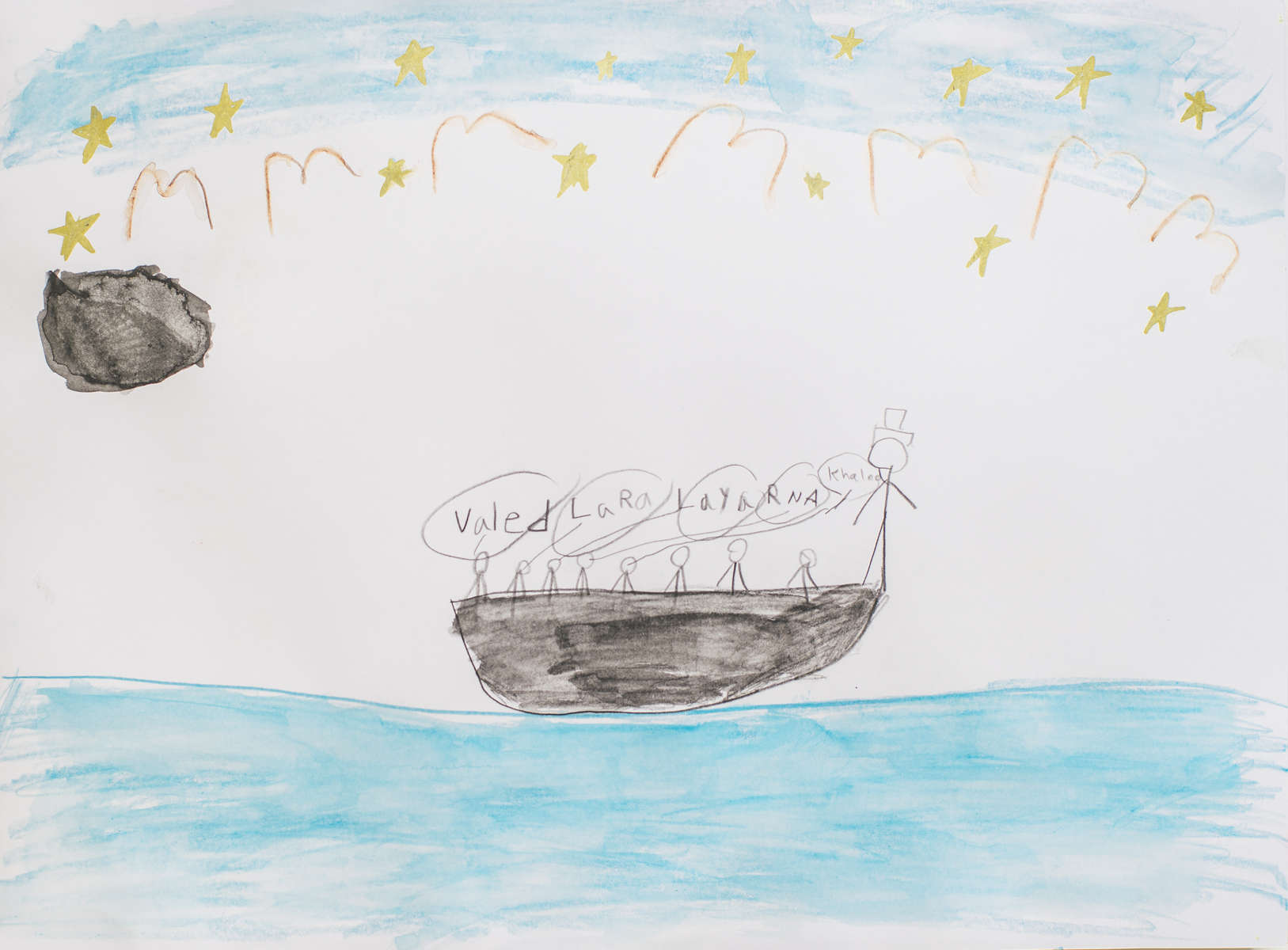 The Al-Khazam family on the boat from Egypt to Italy, under a new moon. Drawing by Laya Al-Khazam.On a week when the weather was good and the seas were calm, Laya's parents decided it was the safest time to cross the Mediterranean to Europe. It was December of 2014 and the beginning of winter. Laya's family left from the shores of Alexandria, Egypt under the cover of a new moon, when the sky was clear and dark, so that others wouldn't see them. They were scared because they knew that the journey was dangerous. They traveled on the sea for a week. There was only one bathroom for 400 people. At times, Laya wanted to get up and run around. But the boat was crowded, and people were not in a playful mood. So instead, Laya sat quietly. She looked up at the sky and dreamed about reaching Sweden.By the seventh and final day of the journey, there was no food or water left. Lots of children cried and people got sick. But Khaled and Rana--Laya's parents--were surprised. None of their children—eight-year-old Laya, ten-year-old Waled or even four-year-old Lara—cried or complained the entire week they were on the boat. Finally, after what felt like forever, the Al-Khazam's boat reached the shores of Italy. They finally had made it to Europe. When all of their family was off the boat, they stood on the beach and hugged for a long time.