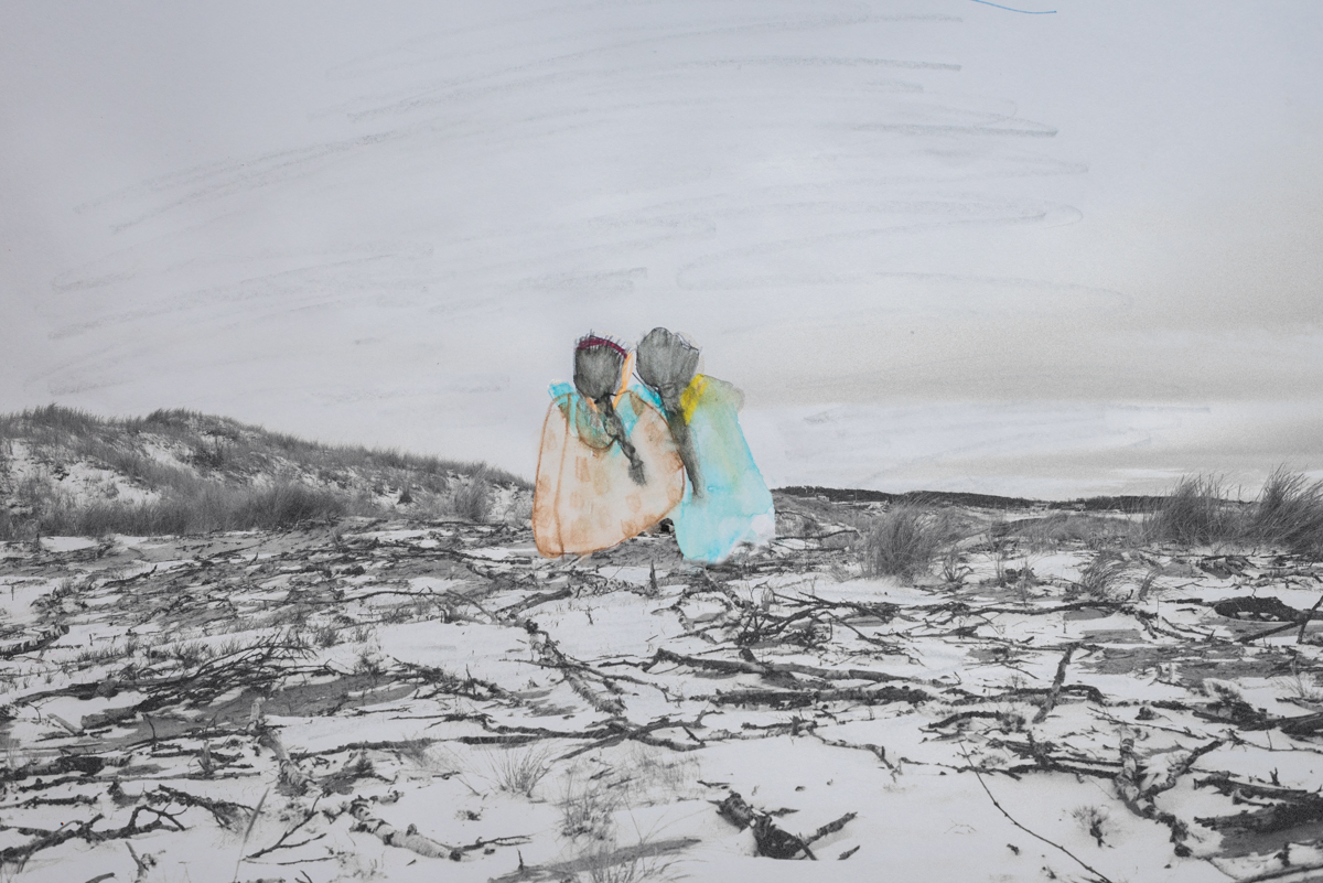 Drawing of Laya and her friend from Syria, by Laya Al-Khazam.Image of a snowy beach. Halland, Sweden.