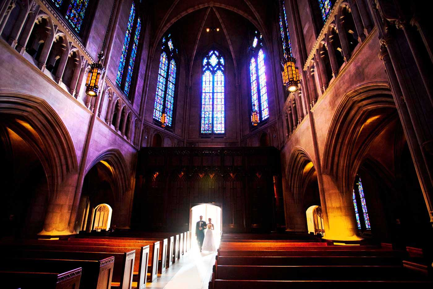 Father and Bride walking down the aisle in Heinz Chapel in Pittsburgh, PA