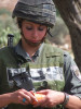 Female Israeli soldier during demonstration against the wall