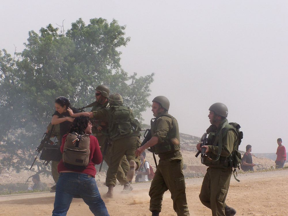 Israel Army in the village after a demonstration against the Wall.