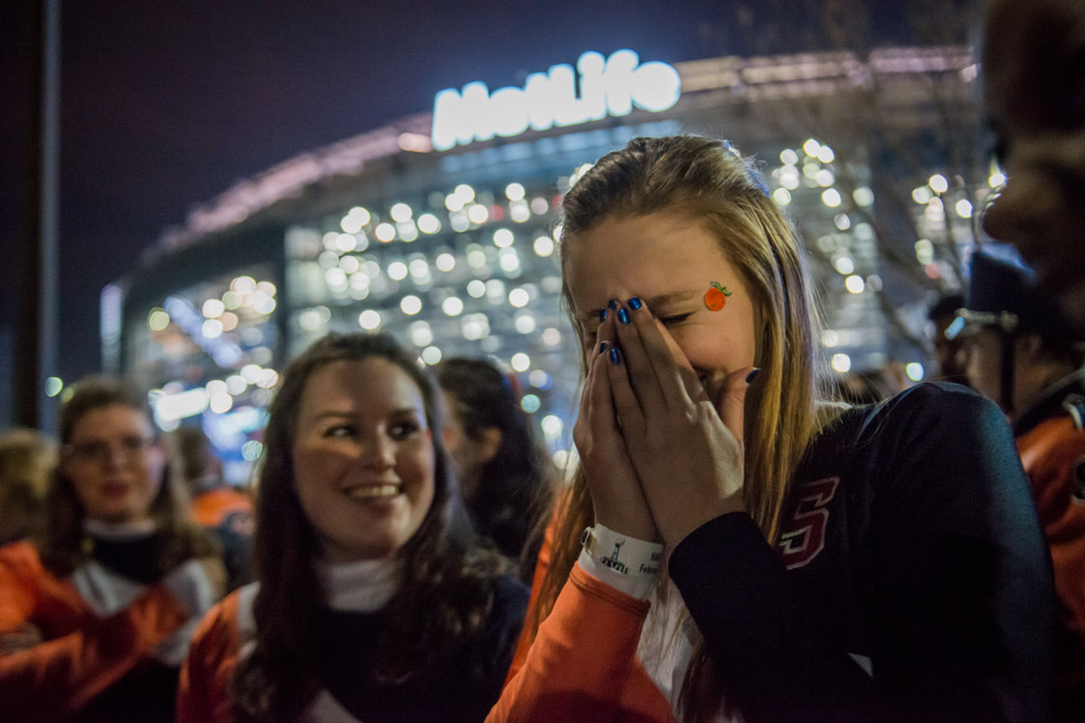{quote}I don't want to leave,{quote} Natasha Olejar cries after her performance with the Syracuse University Marching Band at the Super Bowl on Sunday night.