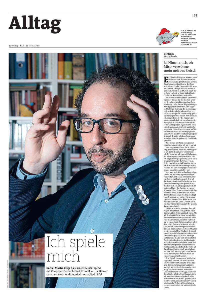 The front page of the February 7 issue of the German weekly Der Freitag. It shows Professor Daniel Martin Feige in his appartement in the German city of Mainz. Professor Daniel Martin Feige is taking off his glasses while posing for a portrait in his appartement in the German city of Mainz.