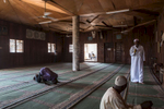 muslims praying in a mosque in Briqueterie, the muslim quarter of Cameroons capital Yaoundé