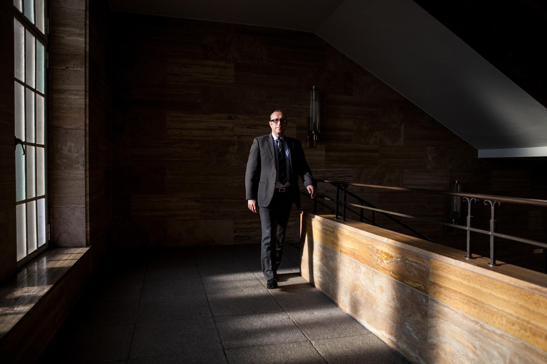 Apostolos Tsalastras, mayor of the German city Oberhausen, is walking through the city's city hall.