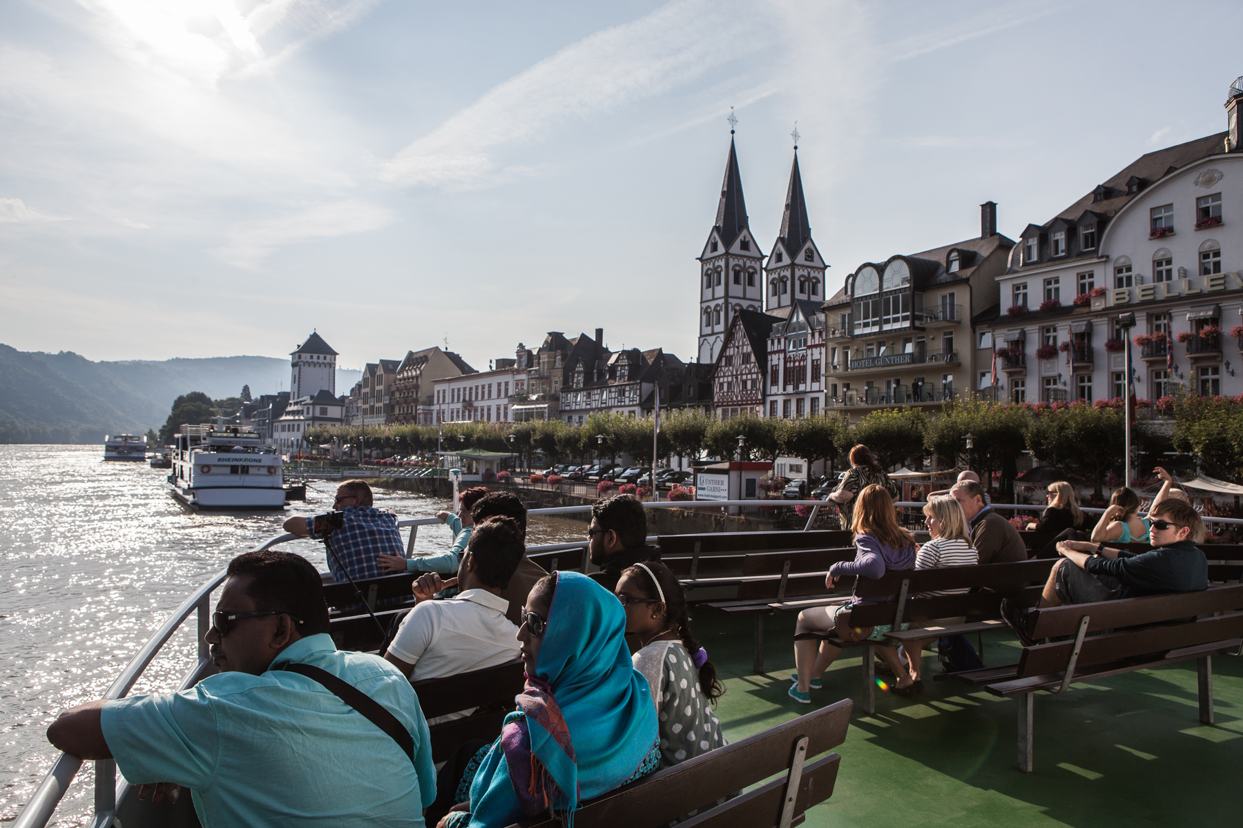 tourists on a riverboat on the river Rhine in Germany