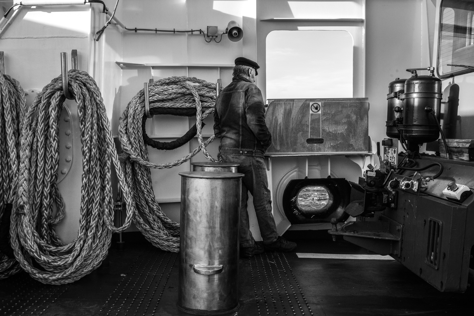 November 2019: A man on a ferry between the German city of Dagebüll and the island of Föhr in the Northern Sea