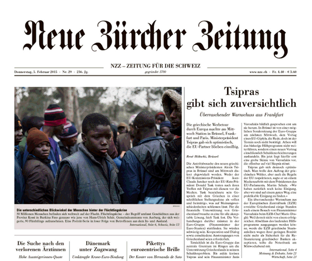 tearsheet of NZZ frontpage showing a photo of young African refugees stranded on Mount Gourougou in Morocco. Between 10000 and 20000 were stranded on Mount Gourougou for years, trying to climb the fences to the Spanish enclave Melilla and the Moroccan police was harassing them on a frequent basis.