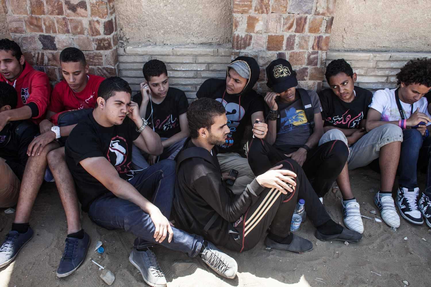 A group of Ultras Ahlawy in front of the Police Academy in New Cairo where the trial is held to prosecute the people responsible for the stadium massacre in Port Said in February 2012.