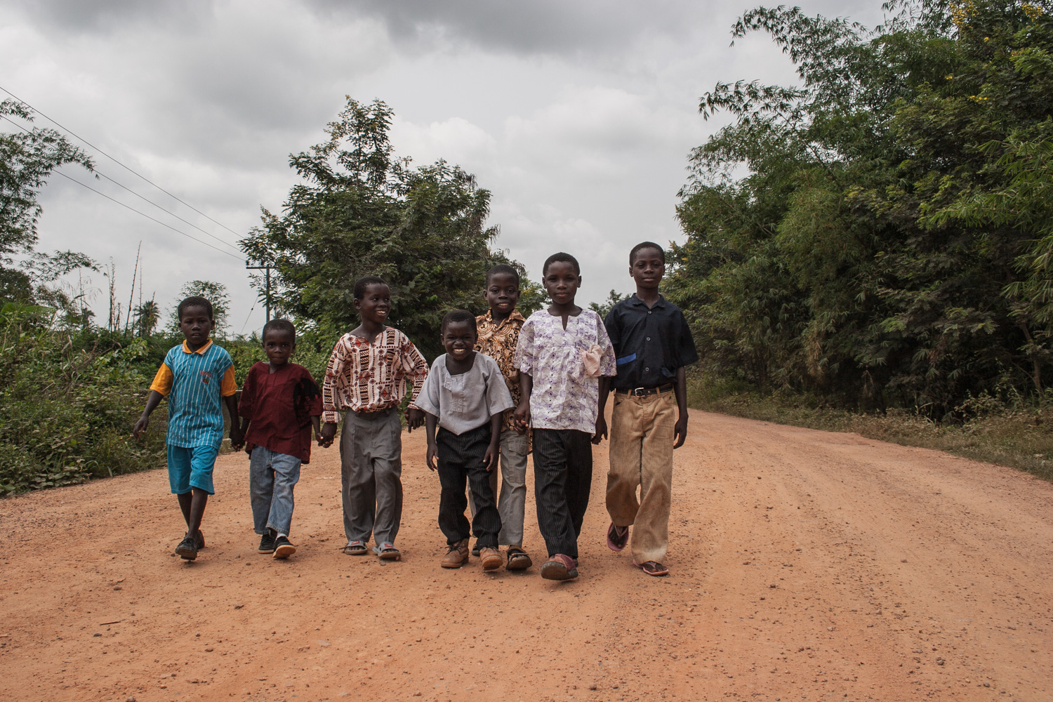 boys on their way to a local festival somewhere in the Ghanaian interior