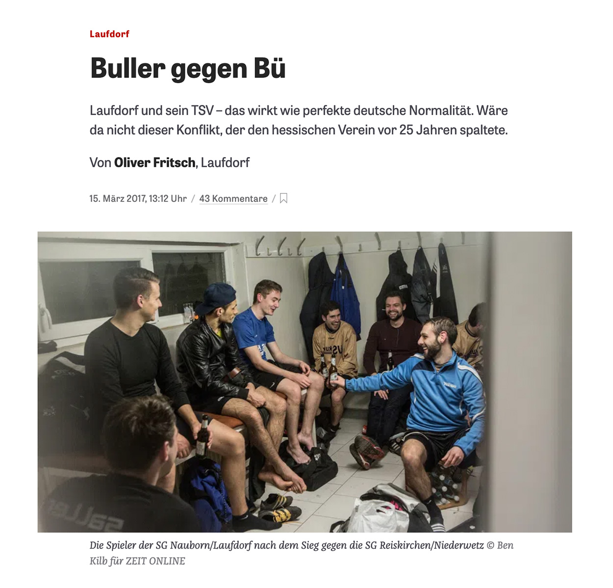 Football players of SG Nauborn/Laufdorf are celebrating and drinking beer inside their dressing room after they won a match