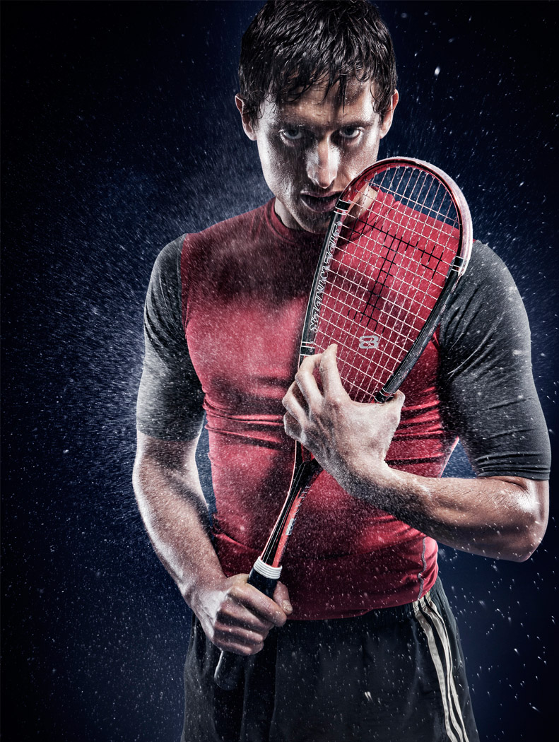 amazing studio photo of a professional squash player