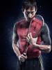 amazing studio photo of a professional squash player