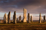 Calanais standing stones on the Isle of Lewis - outer Hebrides in a sunset