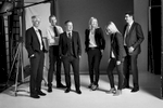 creative corporate group portrait in a studio in black and white
