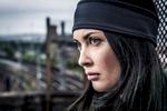 Amanda Hendricks  model wearing Tombo sportswear at SWG3 on the roof in Glasgow