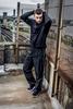 model wearing Tombo sportswear at SWG3 on the roof in Glasgow