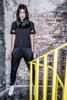 Amanda Hendricks model wearing Tombo sportswear at SWG3 in Glasgow in a stairwell