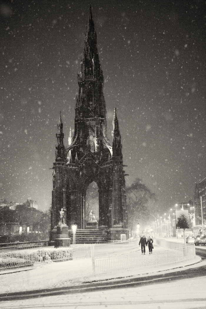 Scott Monument Edinburgh, at night in the snow