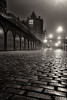 East Market Street Edinburgh. Wet cobbles on a foggy night