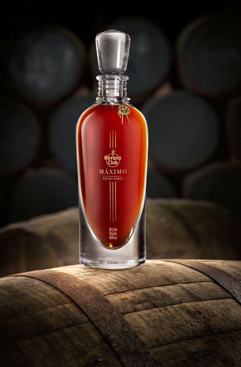 bottle of Havana Club Maximo on a barrel