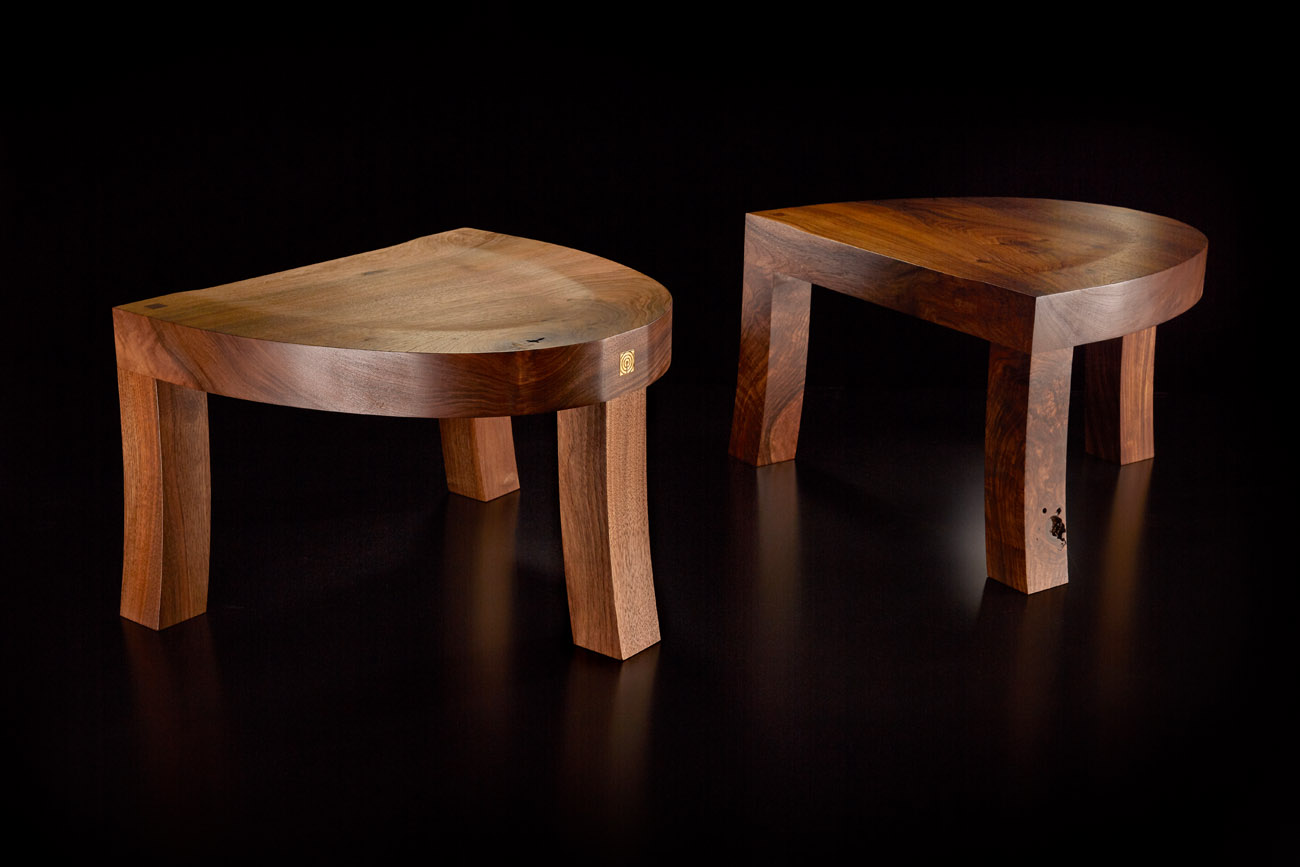 hand made wooden furniture - pair of stools