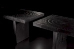 hand made wooden furniture - pair of  cup and ring benches