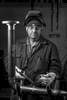 black and white portrait of industrial factory worker