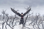 witch with top hat and wings in a burned out snowy winter landscape