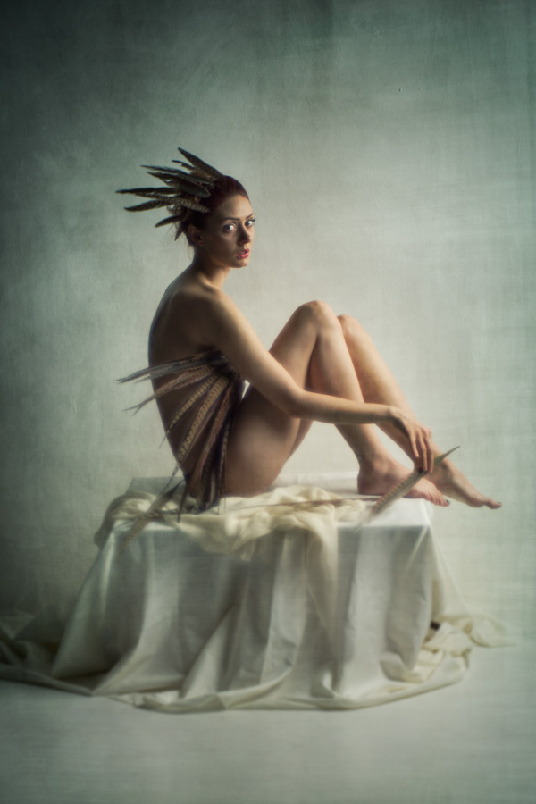naked girl sitting on a box with fabric. Wearing feathers in her hair. Painterly colour nude of a beautiful woman