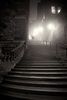 ORNG6220-couple-walking-up-Warriston-Close-steps-in-the-dark-in-Edinburgh-fog-orange-